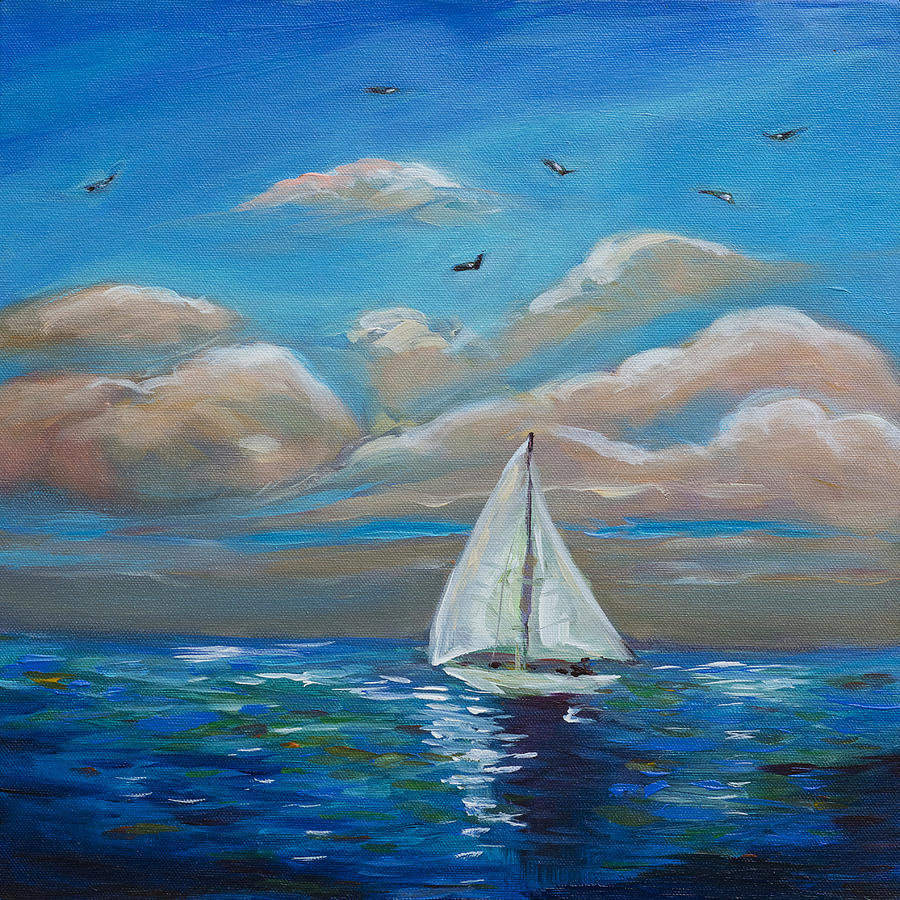 Ocean Painting - Sailing With My Dad by Linda Olsen