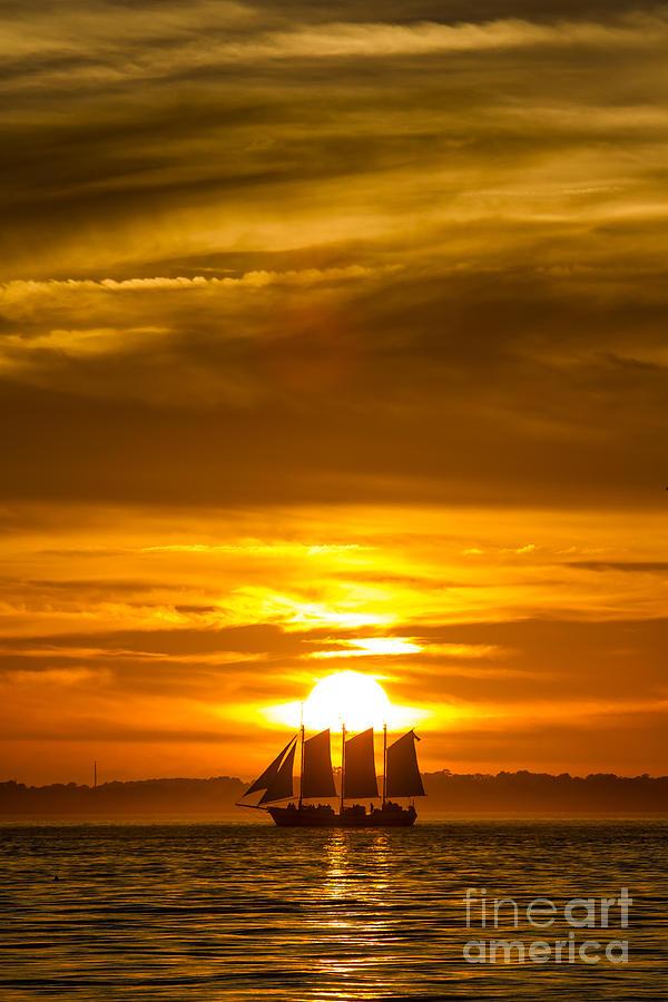 Sailing Photograph - Sailing Yacht Schooner Pride Sunset by Dustin K Ryan