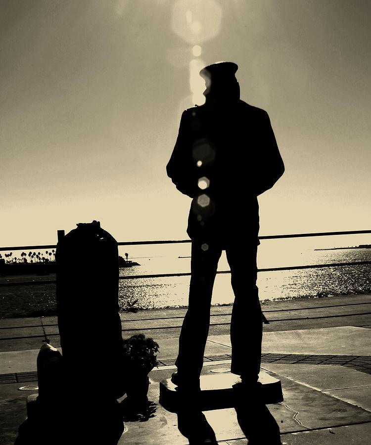 Sailor Statue Over Long Beach Harbor Photograph by Denise Dube