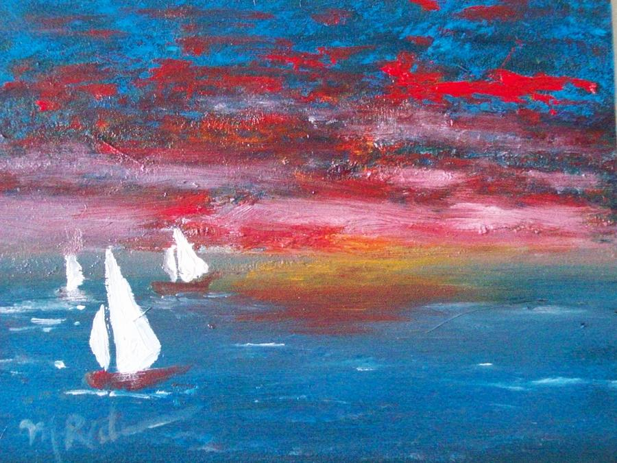 Sunset Painting - Sailors Delight by Margie Ridenour