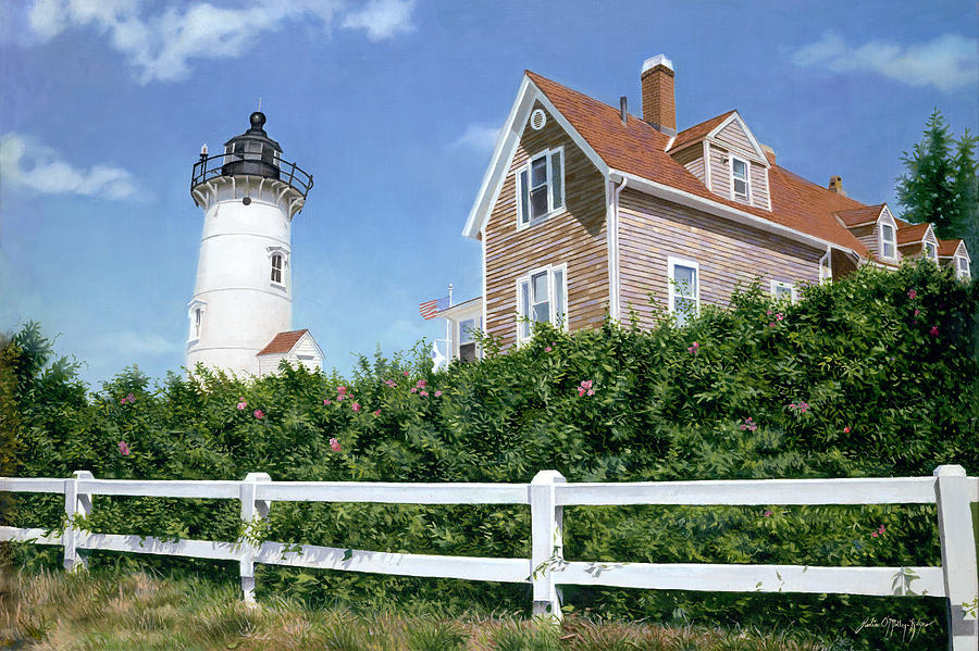 Nobska Painting - Sailors Gift - Nobska Lighthouse by Julia OMalley-Keyes