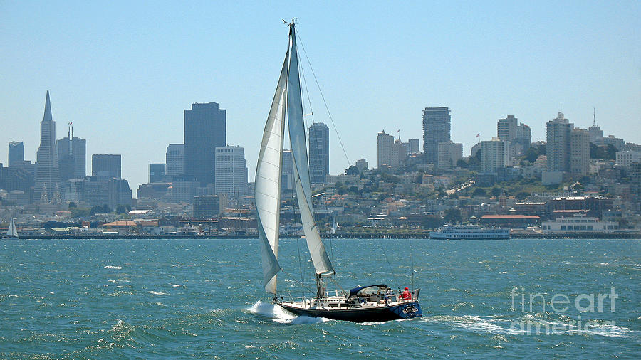 Sails Photograph - Sailors View Of San Francisco Skyline by Connie Fox