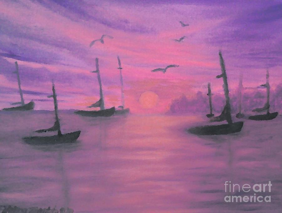 Sailboats Painting - Sails At Dusk by Holly Martinson
