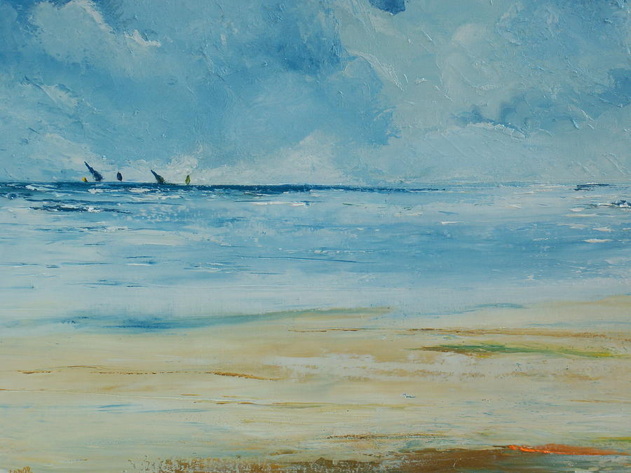 Irish Artist Painting - Sails Beyond The Reef by Conor Murphy