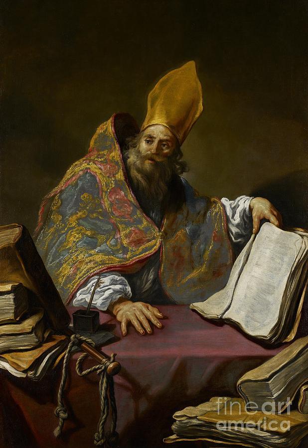 Saint Painting - Saint Ambrose by Claude Vignon
