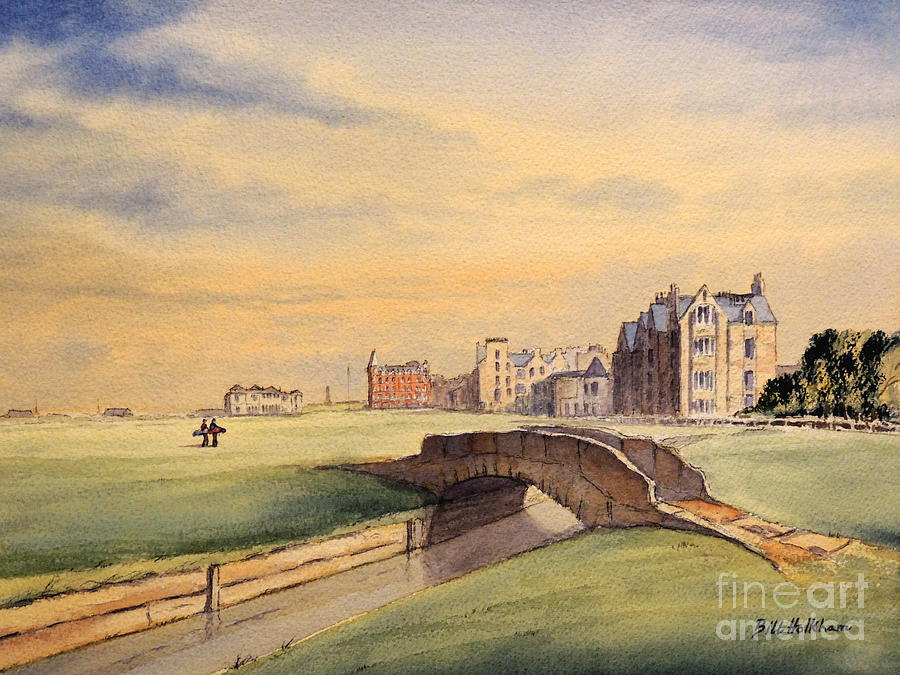 St Andrews Golf Course Painting - Saint Andrews Golf Course Scotland - 18th Hole by Bill Holkham