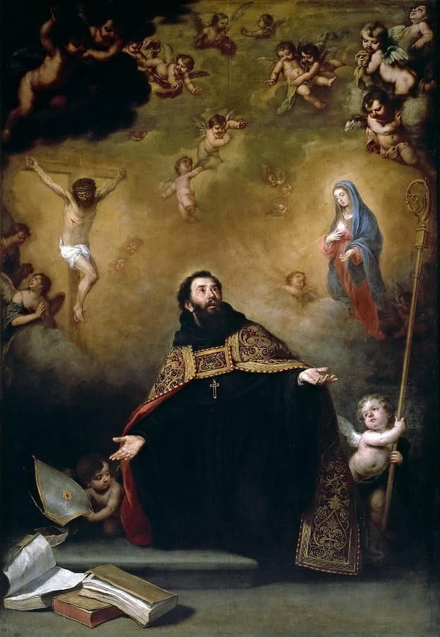 saint augustine between christ and the virgin painting by bartolome