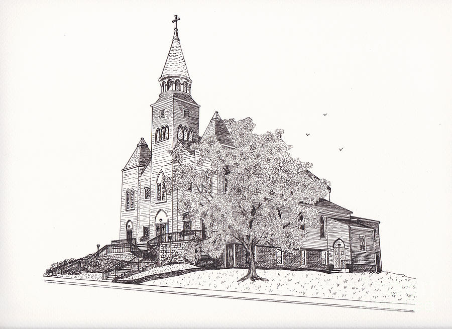 Pen And Ink Drawing - Saint Bridget Church by Michelle Welles