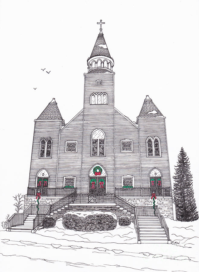Architectural Drawing Drawing - Saint Bridgets Church At Christmas by Michelle Welles