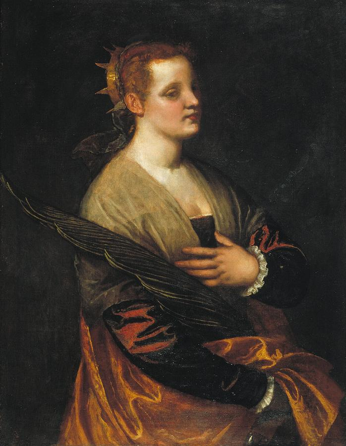 Barcelona Painting - Saint Catherine by Paolo Veronese