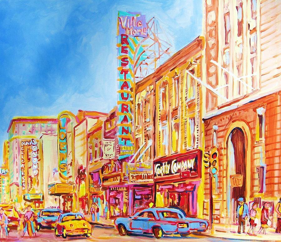 Montreal Painting - Saint Catherine Street Montreal by Carole Spandau