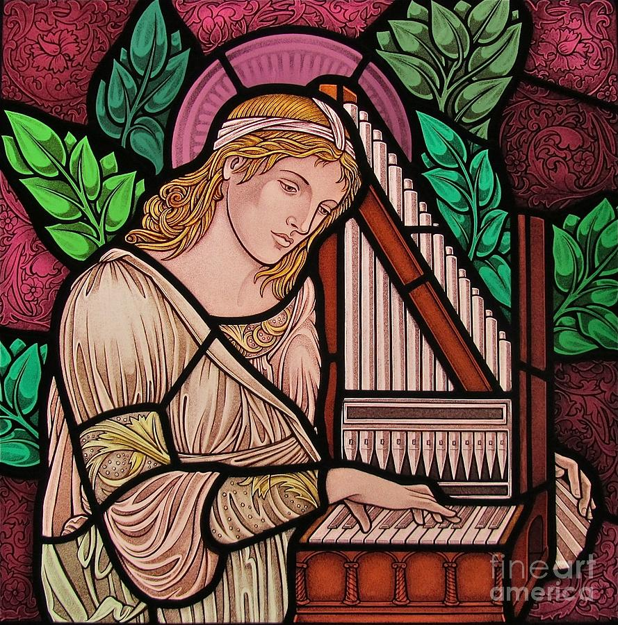 Stained Glass Glass Art - Saint Cecilia by Gilroy Stained Glass