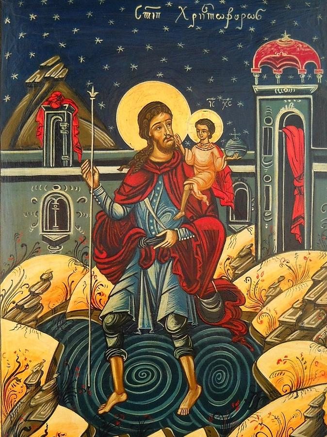 Saint Christopher And The Christ Child Romanian Byzantine