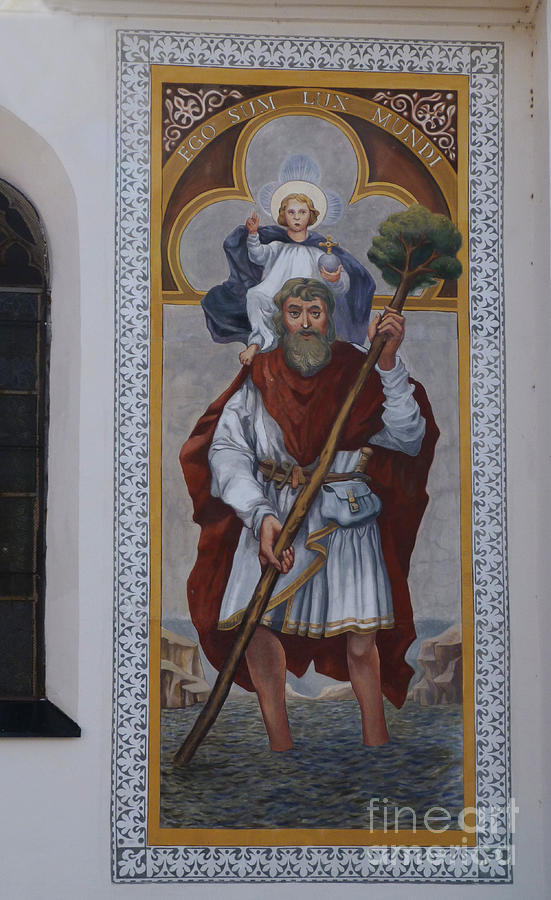 Slovenia Photograph - Saint Christopher Mural - Kranj - Slovenia by Phil Banks