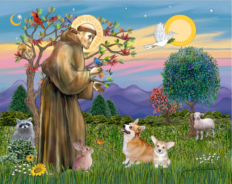 Pembroke Welsh Corgi Digital Art - Saint Francis Blesses A Corgi And Her Pup by Jean Batzell Fitzgerald