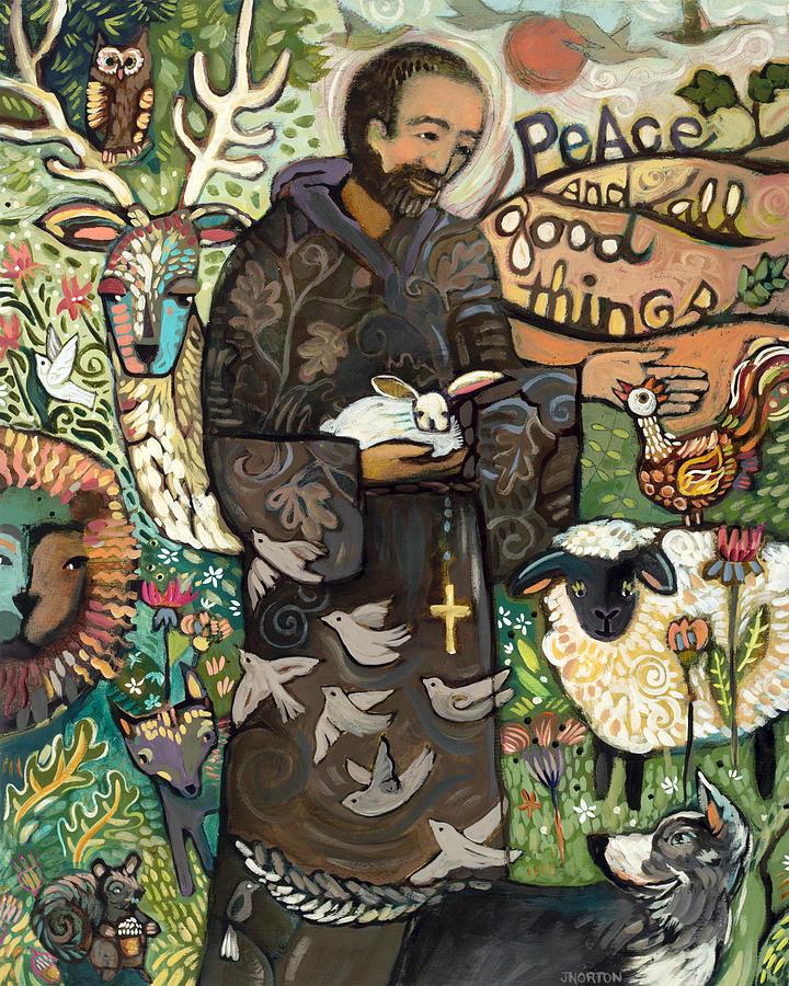 Saint Francis Painting - Saint Francis by Jen Norton