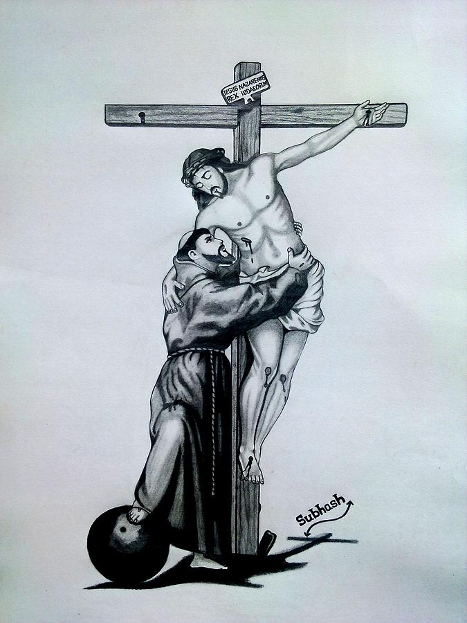 Saint Francis Of Assisi Embracing Christ On The Cross Drawing By