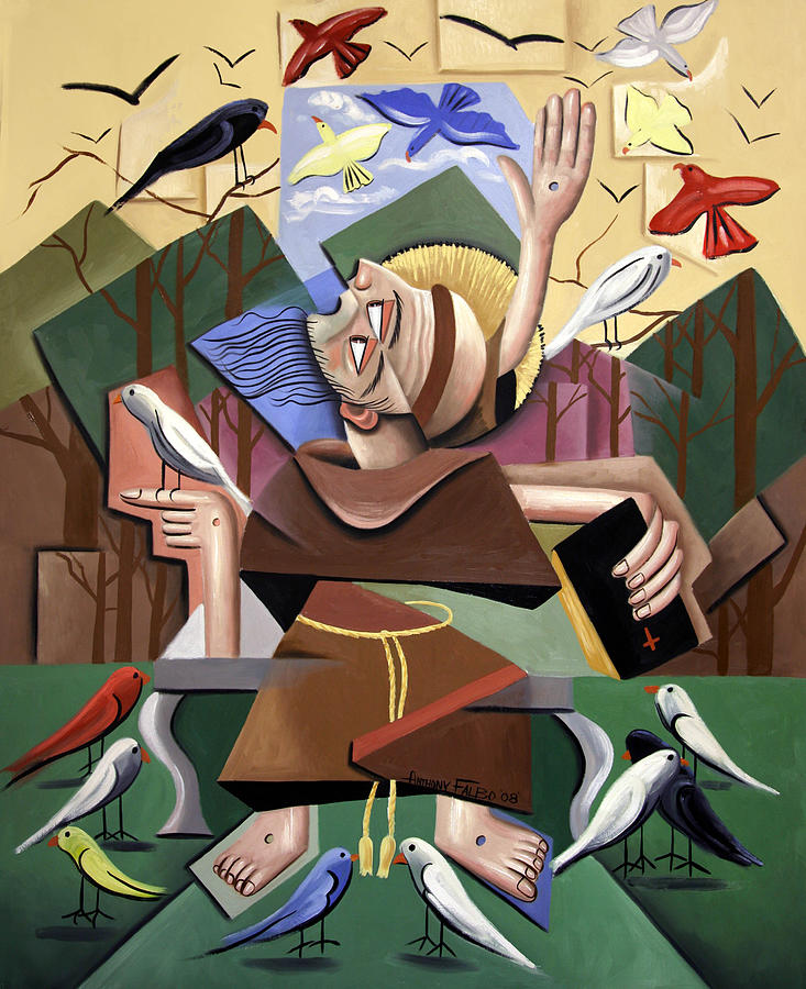 Jesus Painting - Saint Francis Sermon To The Birds by Anthony Falbo