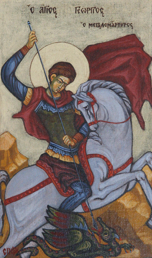 O Megalomartiros Painting - Saint George Agios Georgios by Sonya Grigorova