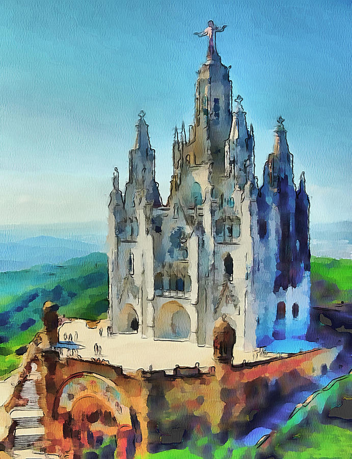 Barcelona Digital Art - Saint Heart Cathedral by Yury Malkov