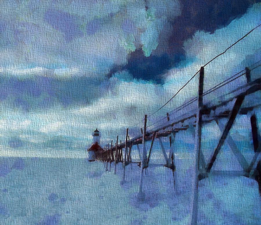 Saint Joseph Pier Lighthouse In Winter Painting - Saint Joseph Pier Lighthouse In Winter by Dan Sproul