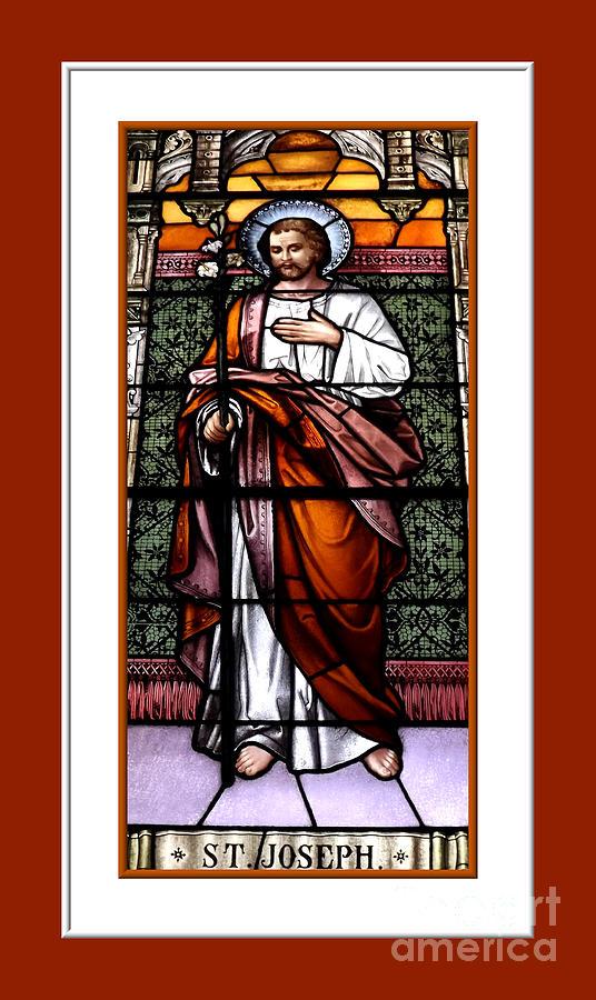 Saint Photograph - Saint Joseph  Stained Glass Window by Rose Santuci-Sofranko