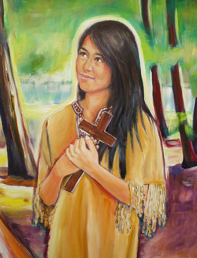Saint Kateri Tekakwitha Version Ii Painting By Sheila Diemert