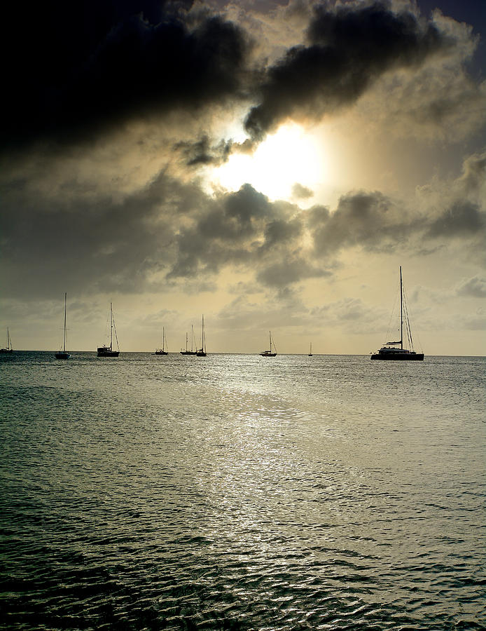 Caribbean Ocean Photograph - Saint Lucia - Rodney Bay At Dusk by Brendan Reals