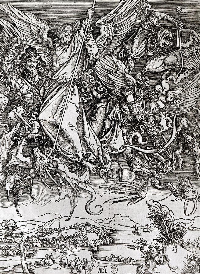 Saint Michel Drawing - Saint Michael And The Dragon by Albrecht Durer or Duerer