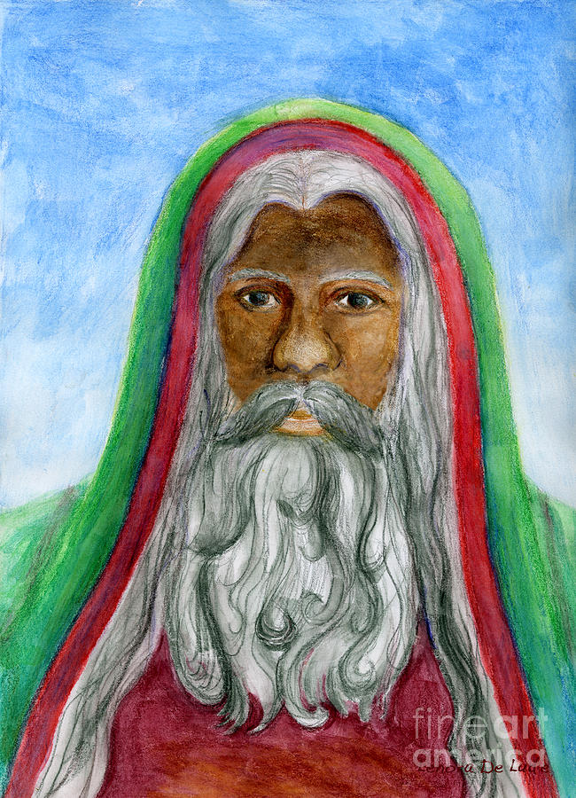 Black Painting - Saint Nicholas Black Old World Santa  by Lenora  De Lude