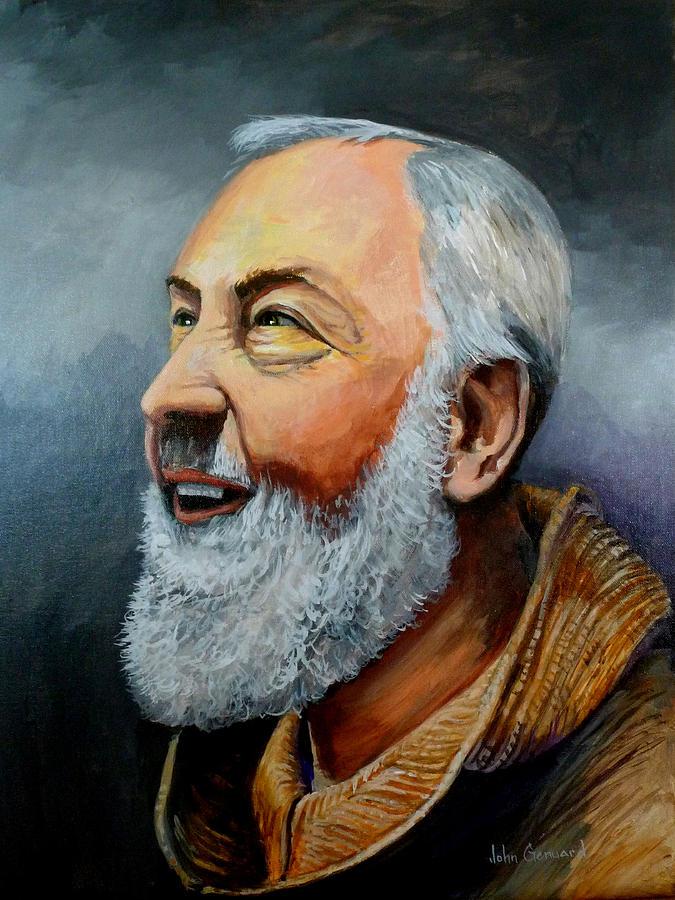 Smiling Padre Pio Painting By John Genuard