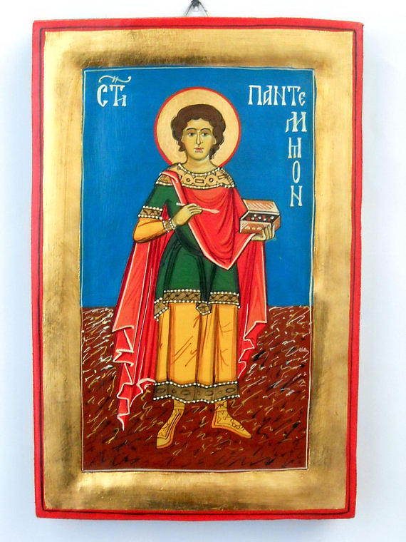 Hand Painted Painting - Saint Panteleimon Doctor Without Silver For Those Who Had No Money by Denise ClemencoIcons