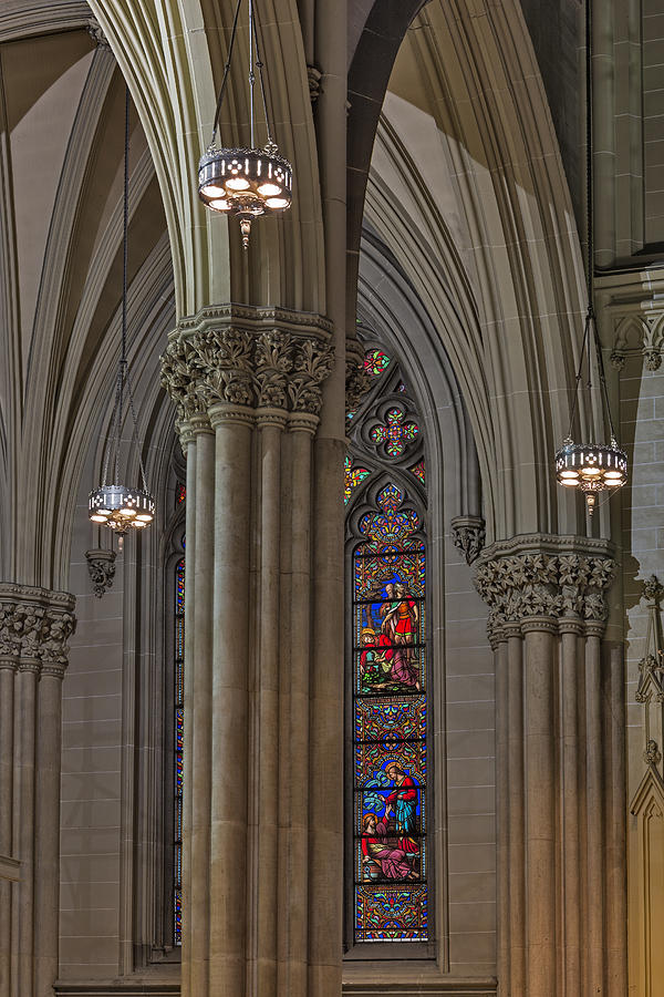 American Gothic Revival Photograph - Saint Patricks Cathedral Stained Glass Window by Susan Candelario