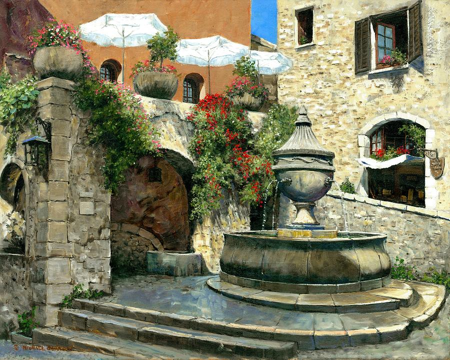 Vence Painting - Saint Paul De Vence Fountain by Michael Swanson