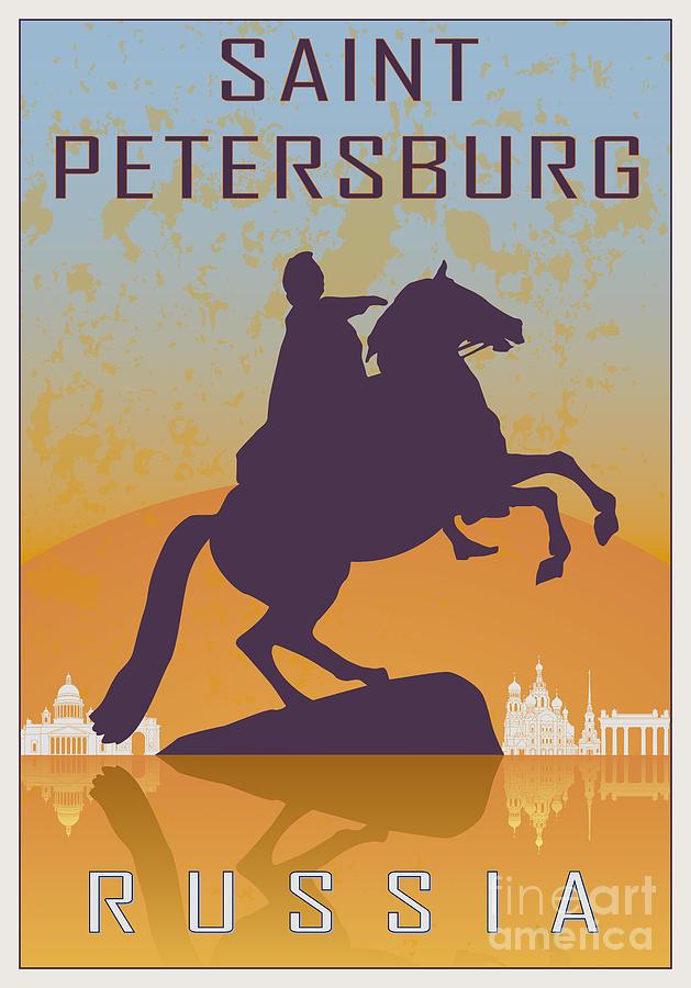 Saint Petersburg Vintage Poster Digital Art