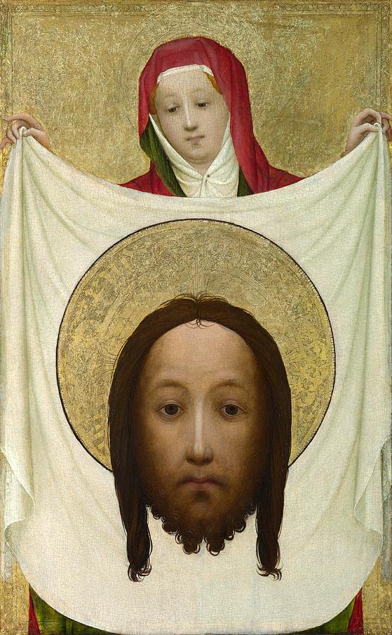 Master Of Saint Veronica Painting - Saint Veronica With The Sudarium by Master of Saint Veronica