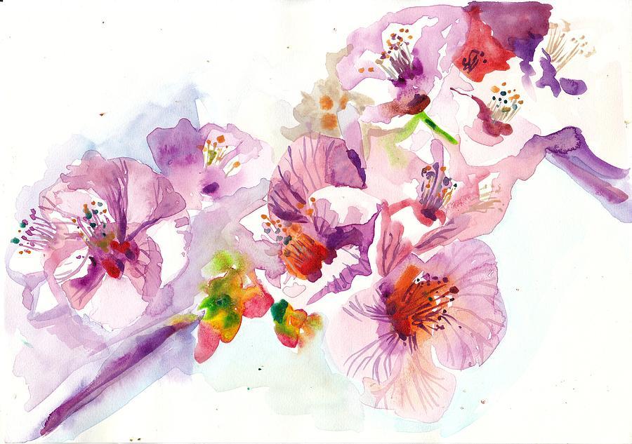 Sakura - Cherry Flowers Watercolor Painting