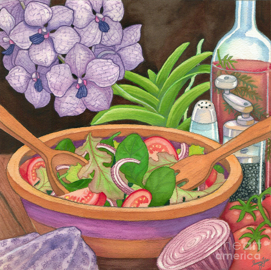 Dining Painting - Salad And Orchids by Tammy Yee