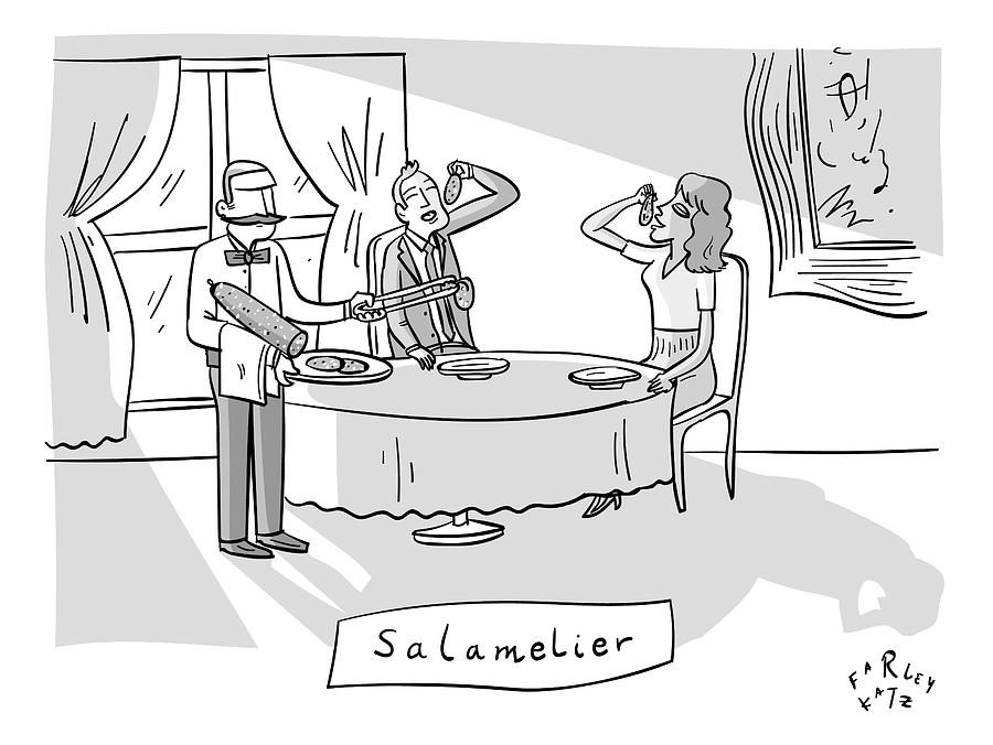 Salamlier -- A Waiter Slices Salami For Two Drawing by Farley Katz