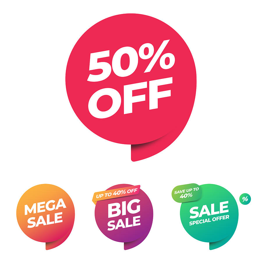 Sale of Special Offers and Discount Gradient Banner Template Vector Design. Drawing by Designer29