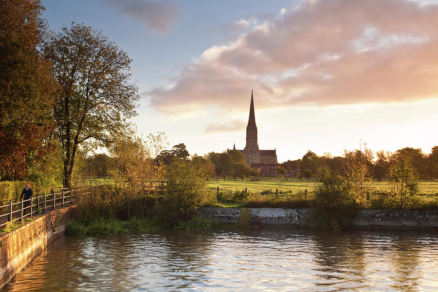 Salisbury Cathedral And The River Avon Photograph by Julian Elliott Photography