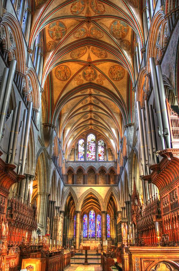Salisbury Cathedral Photograph - Salisbury Cathedral interior II by Peggy Berger