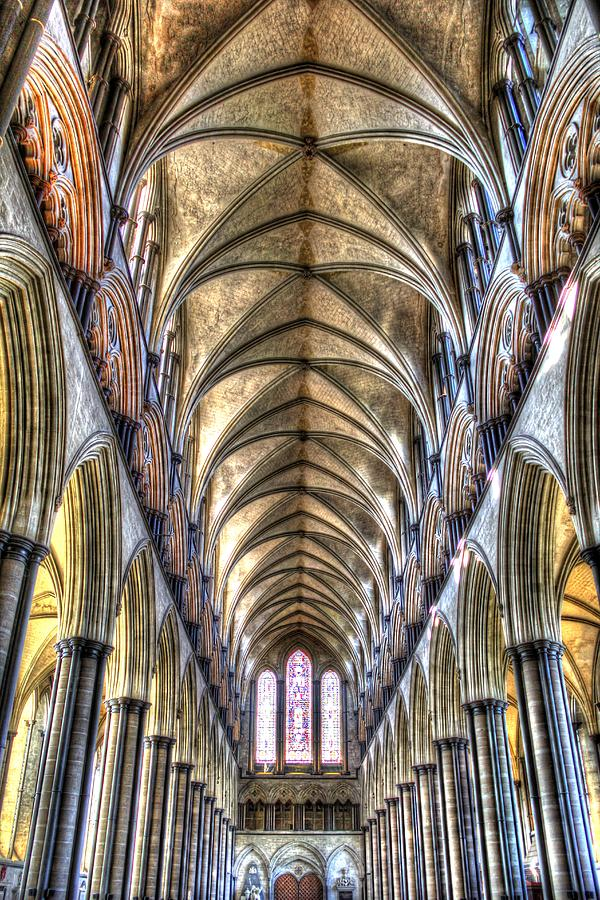 Salisbury Cathedral Photograph - Salisbury Cathedral interior by Peggy Berger