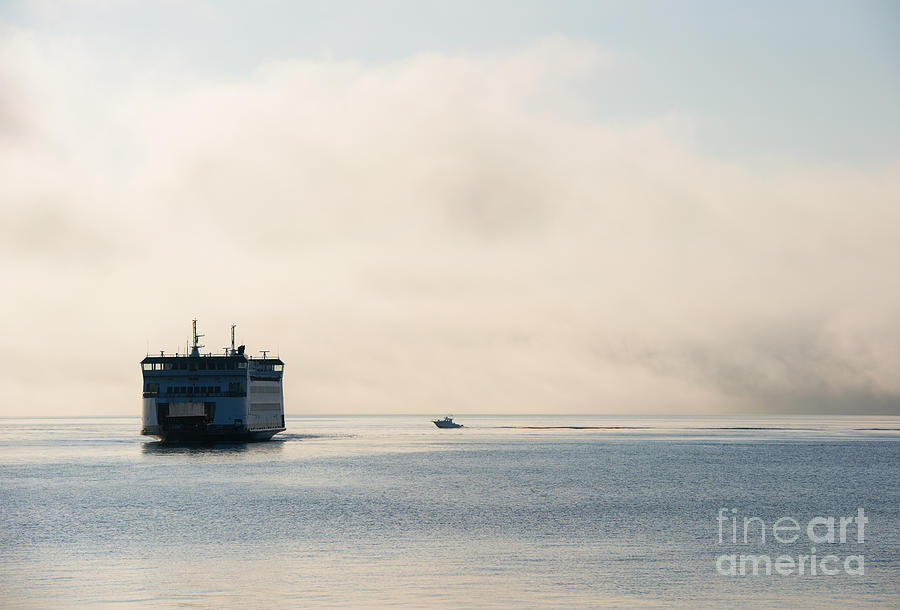 Ferry Photograph - Salish Into The Fog by Mike  Dawson