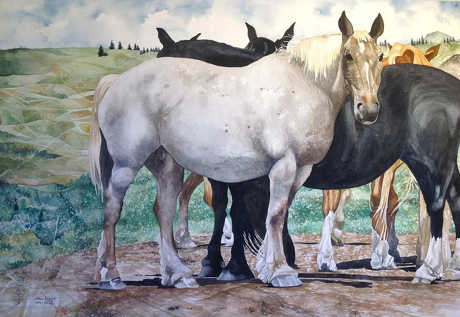 Sallys Horses Painting by Lance Wurst