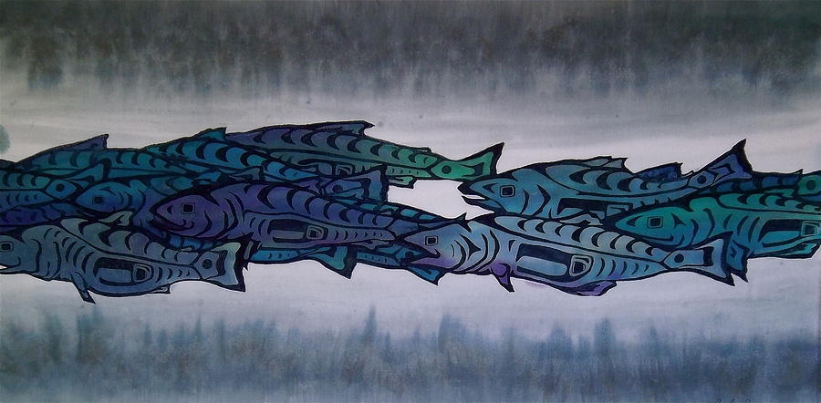 Salmon Tapestry - Textile - Salmon Passing by Carolyn Doe