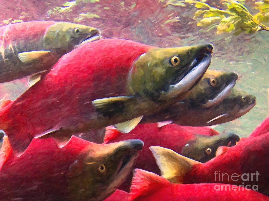 Big Fish Photograph - Salmon Run - Painterly by Wingsdomain Art and Photography
