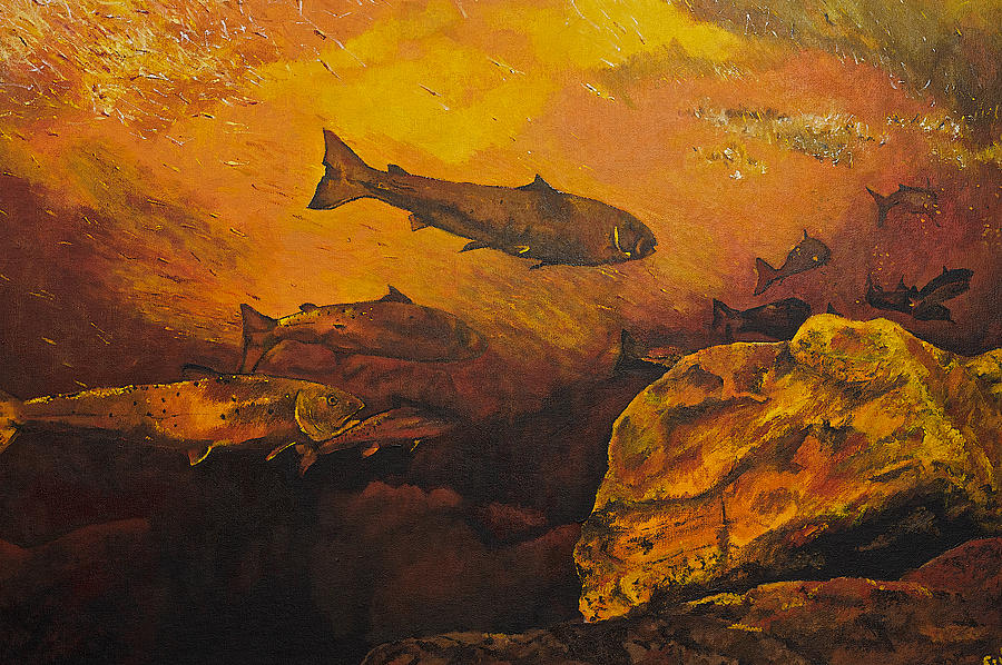 Fish Painting - Salmon Run by Terry Gill