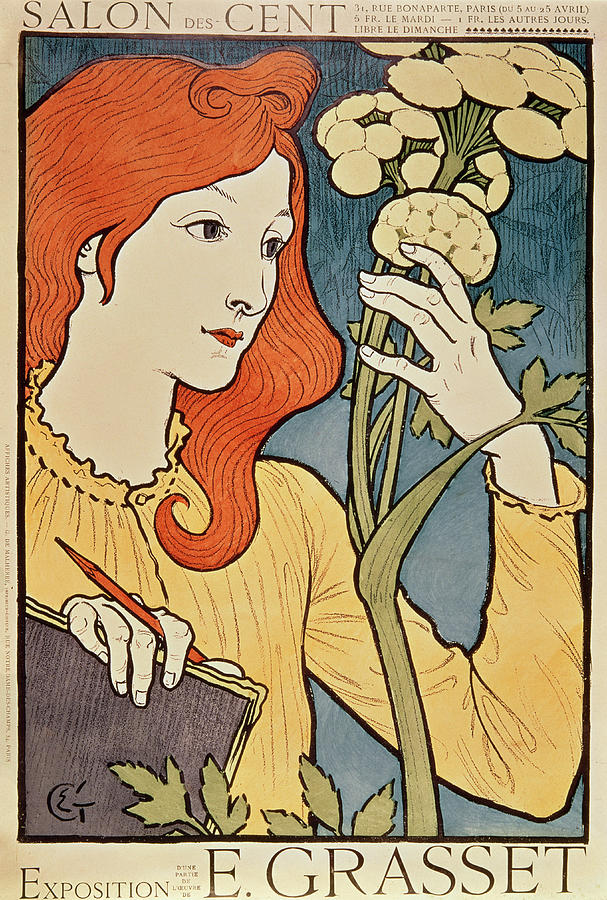 Red Hair Painting - Salon Des Cent by Eugene Grasset