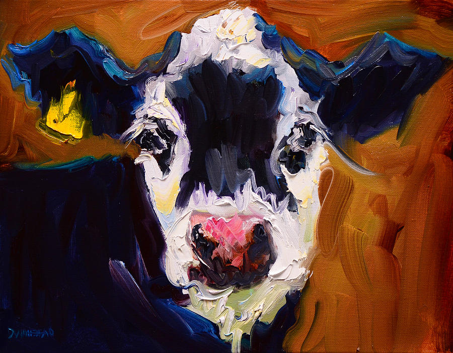 Salt And Pepper Cow 2 Painting by Diane Whitehead